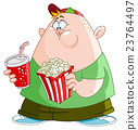 Kid with popcorn and soda 23764497