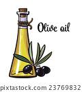 olive oil bottle with black olives 23769832