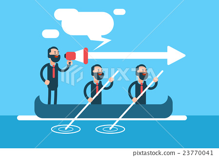 Business Man Group Team In Boat Teamwork 23770041
