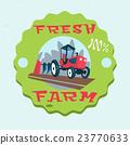 Tractor Plowing Field Eco Fresh Farm Logo 23770633
