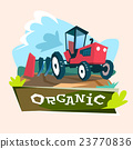 Tractor Plowing Field Eco Farming Concept 23770836