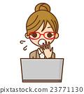 企業玻璃女商人和個人計算機 23771130