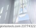 white curtain on the window with blue sky 23774322