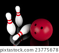 Bowling ball and bowling pins on black background 23775678
