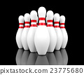 bowling pins on black background, 3D rendering 23775680