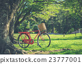 Red Japan style classic bicycle at the park 23777001