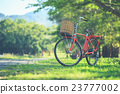 Red Japan style classic bicycle at the park 23777002