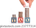 "Stack of Thai coin and ""TAX"" write in colorful wood alphabet blocks and hand holding coin isolated on white 23777314"