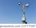 Security CCTV camera operating on the road and blue sky background 23777587