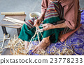 Thai woman working on bamboo using for umbrella 23778233
