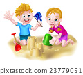 Boy and Girl Playing in the Sand 23779051