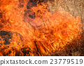 Fire burning dry grass field in Thailand 23779519