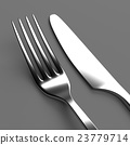 Fork and knife on grey 23779714