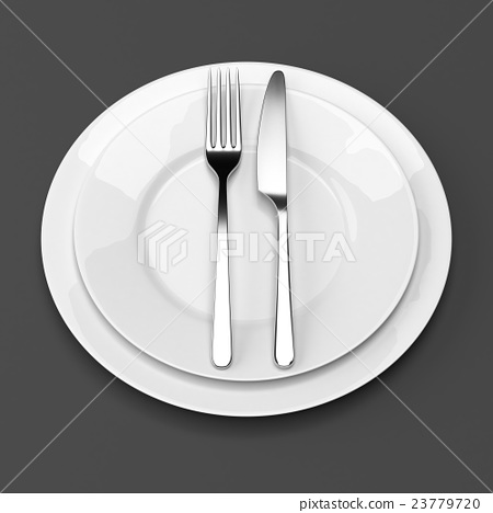 Fork and knife with plates 23779720