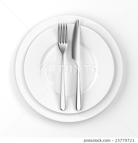 Fork and knife with plates 23779721