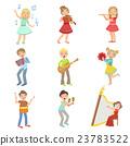 Kids Singing And Playing Music Instruments Set 23783522