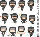 Ninja character illustration set 23786096