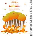 Hello autumn background with foxes 2 23789028