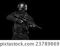 Spec ops police officer SWAT in black uniform stud 23789669