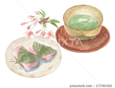 Green tea and Japanese sweets Sakurakinso 23790360