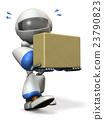 运载纸板箱的一个逗人喜爱的机器人 23790823