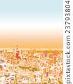 晚上东京townscape例证概略的看法 23793804