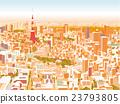 晚上东京townscape例证概略的看法 23793805