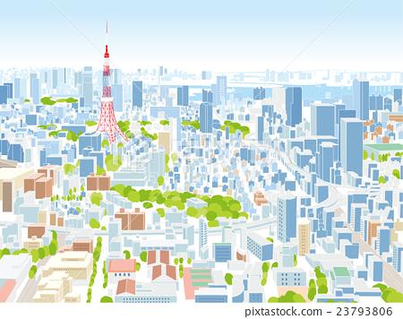 东京townscape例证概略的视图 23793806