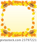 Background with a border of oak branches  23797221