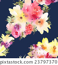 Roses and lilies seamless pattern. 23797370