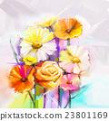 Oil painting gerbera and rose flowers 23801169