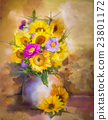 Watercolor painting flowers bouquet 23801172