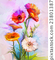 Oil painting of spring flowers 23801387