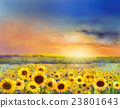 Oil painting of a rural sunset landscape 23801643