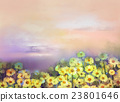 Oil painting yellow, golden daisy flowers fields 23801646