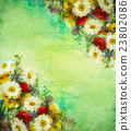 Watercolor painting vintage flowers background 23802086
