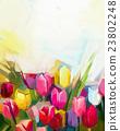 Oil painting tulip flower field 23802248
