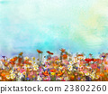 Watercolor painting purple cosmos flower 23802260