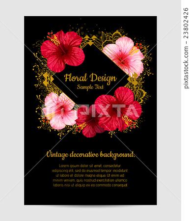 vector hibiscus flower. invitation card. 23802426