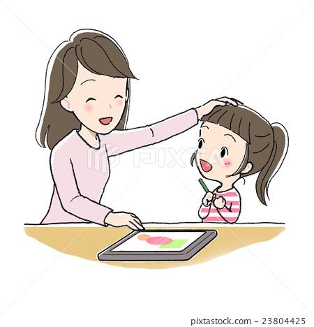 我用平板電腦學習,我了解一個女孩和一個女士 23804425