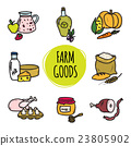 Cute hand drawn collection of organic farm food 23805902