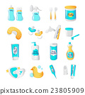 Vector baby accessories icons. Cartoon style 23805909