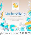 Vector baby accessories poster design. Newborn 23805965