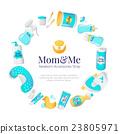 Vector baby accessories frame. Newborn goods 23805971