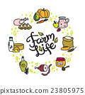 Vector farm food doodle circle frame with hand 23805975