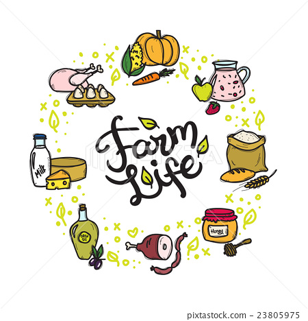 Vector farm food doodle circle frame with hand - Stock Illustration ...