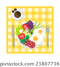 Breakfast on tablecloth top view. 23807736
