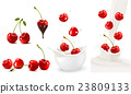 Set of ripe sweet cherries with leaves and splash 23809133