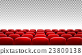 Rows of red cinema or theater seats  23809138