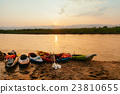 Two canoe on the sand near the river ,Mae Hong Son 23810655